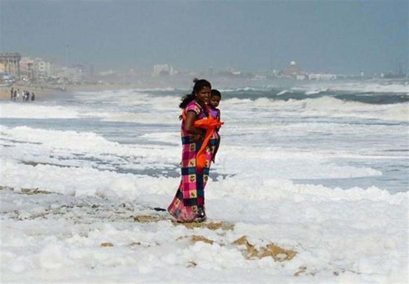 آلودگی ساحل هند را سفید کرد